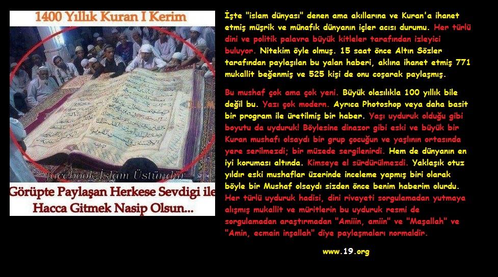 1400 yıllık Kuran yalanı