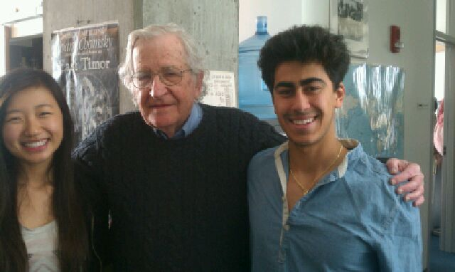 Matine Yuksel, Noam Chomsky and Monica Seng at MIT, 26 April 2013