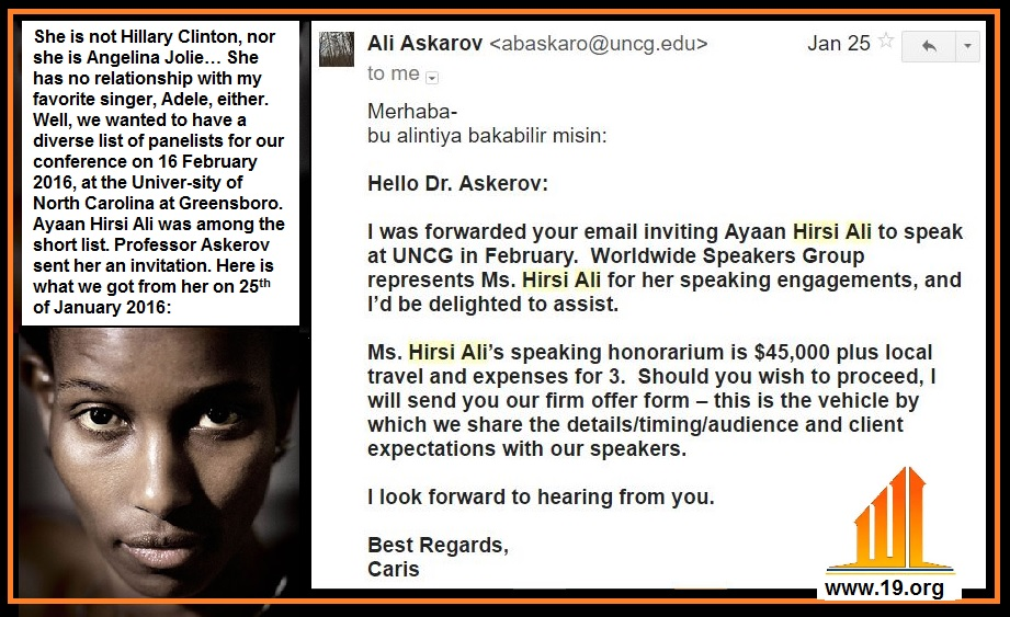 2016-01-25 Ayaan Hirsi Ali asking for 45 thousand dollars 2